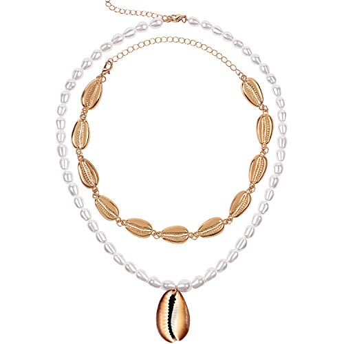 Shell Choker Necklace Bracelet for Women Handmade Summer Beach Conch Rope Choker Seashell Choker Cowrie Shell Bead Necklace for Girls Ladies (E: Pearl Shell Necklace)