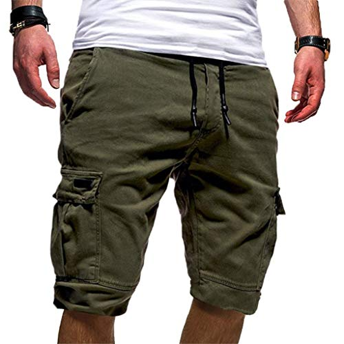 (Realdo Mens Solid Shorts, Slack Loose Elastic Waist Casual Fitness Pants (Army)