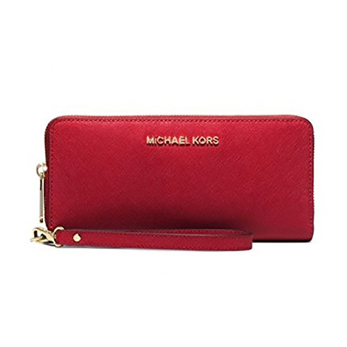 Michael Kors Women's Mercer Travel Continental Wristlet, Bright Red, OS by Michael Kors