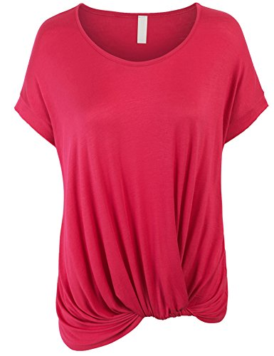KOGMO Womens Solid Basic Boatneck Dolman Top With Knot On Hemline-L-Fuchsia (Boatneck Solid)