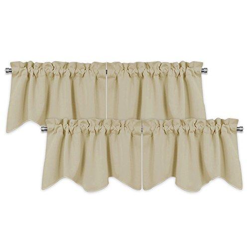 PONY DANCE Valance Window Curtains - Window Drapes Short Tiers Home Decor Window Treatment Scalloped Valances Rod Pocket Panels for Bedroom, 42 W x 18 L, Beige, Set of 4