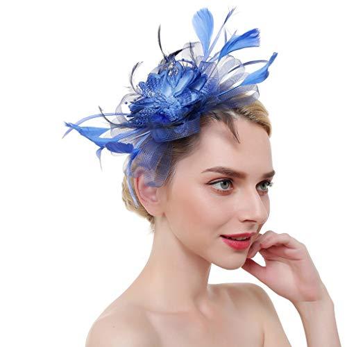 Kinglly Fascinators for Women Fashion Feathers Headband Cocktail Tea Party Hat Mesh Ribbons Headwear Blue ()