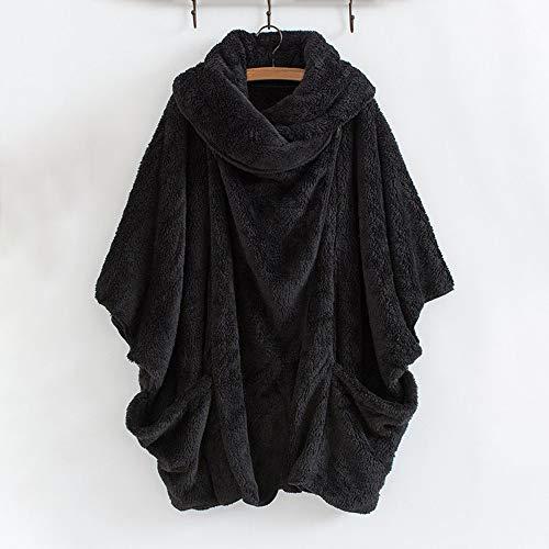 Roulé Ample Chaud Laine Fausse Parka Hiver Fourrure En Épais Court Jacket Grand Femme Veste Col Blouson Noir Manteau Taille ExwBgAqYTn