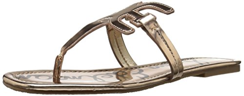 Sam Edelman Women's Carter Flat Sandal, Oro Remato Liquid Metallic, 5.5 M US