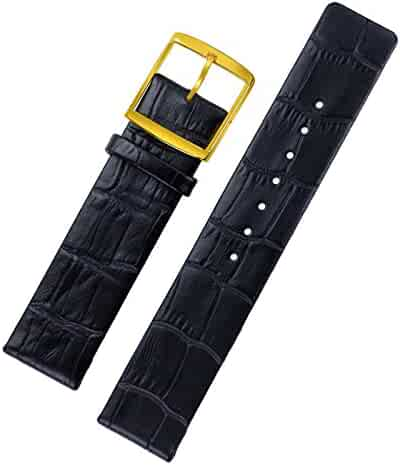 5bbdd753dc2 18mm High-end Black Replacement Wrist Watch Bands   Straps Thin Italian  Leather No Stitching