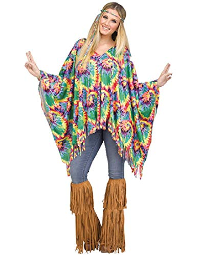 Halloween Costumes For Hippies (Fun World Tie-Dye Hippie Poncho for Halloween, School Acting, Costume Party, for Women Adult)