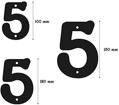 Negro Mate Arthifor N/úmero 5 Chapa para Casa Exterior 15 cm de Alto x 3 cm de Grosor