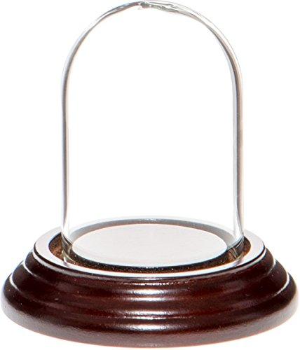"Plymor Brand 1.85"" x 2.875"" Mini Glass Display Dome Cloche (Dark Mahogany Veneer Base)"