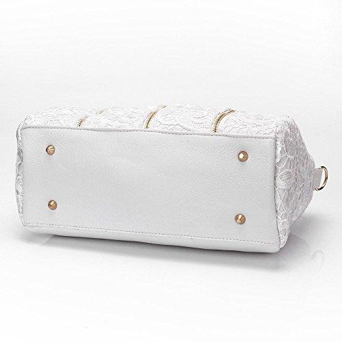 Handbags Black Totes Bags White Fashion Lace Shoulder Women Retro 5qx7A1