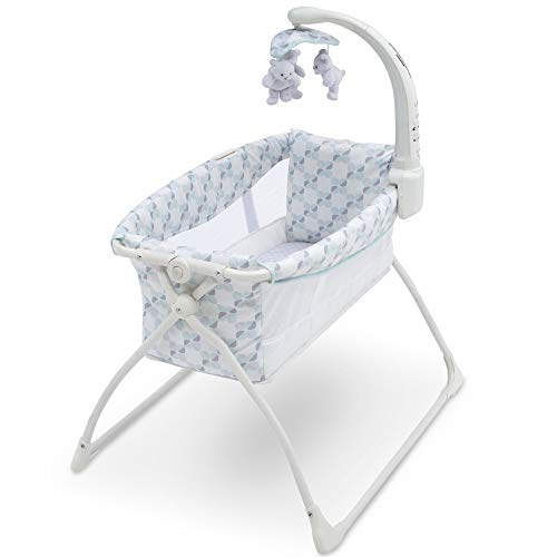 41b63eSzTpL - Delta Children Deluxe Activity Sleeper Bedside Bassinet - Folding Portable Crib For Newborns, Windmill