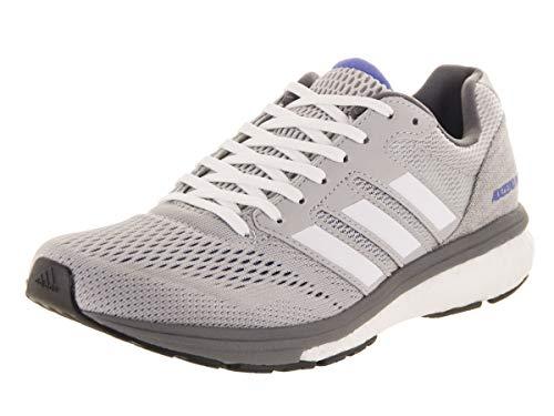 adidas Women's Adizero Boston 7 Running Shoe White/Grey, 9 M US -