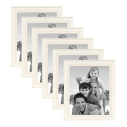 DesignOvation Kieva Solid Wood Picture Frames, Distressed Soft White 8x10, Pack of 6 (Frame Cream Collage Photo)