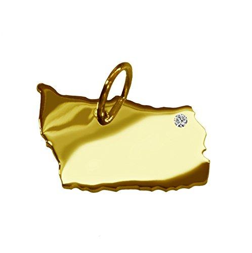 Bornholm Pendentif avec un brillant 0.015ct dans votre souhait endroit 585or jaune