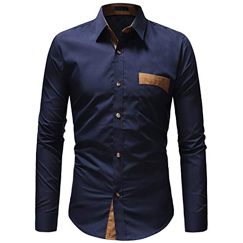 TS,RD.UG Mens Casual Button Down Shirt Long Sleeve Regular Slim Fit Dress Shirts_Blue_XXL