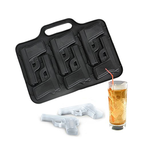 Gun Pistol Style Ice Cube Mold Silicone Chocolate Soap Ice Cream Maker Tray - Perfect for Whiskey Bourbon Scotch drinks Iced Coffee iced Tea lemon fruit Etc