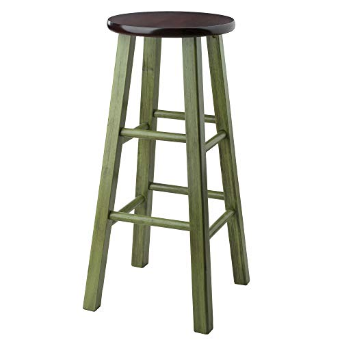 Winsome Wood Ivy Model Name Stool, Rustic Green Walnut
