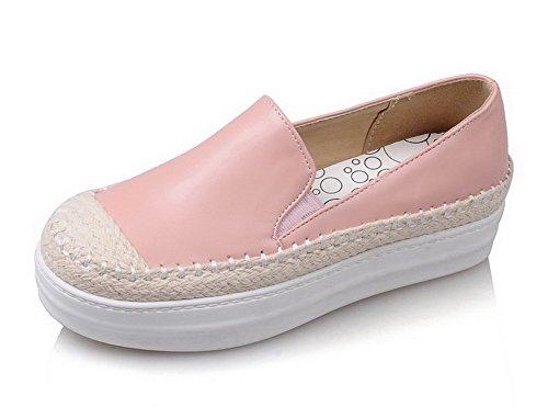 AllhqFashion Damen Weiches Material Ziehen auf Rund Zehe Mittler Pink Absatz Rein Pumps Schuhe Pink Mittler 5babc6