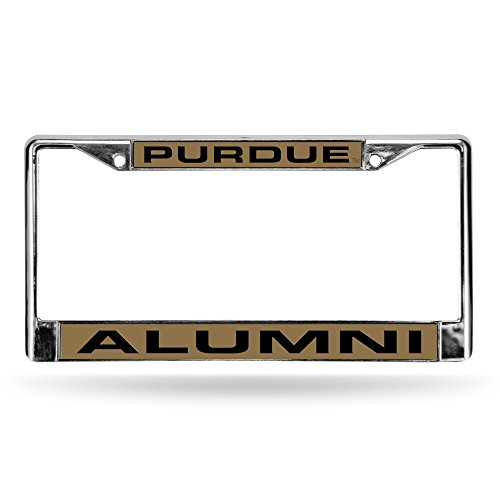 (Rico Industries NCAA Purdue Boilermakers Laser Cut Inlaid Standard License Plate Frame, Chrome, 6