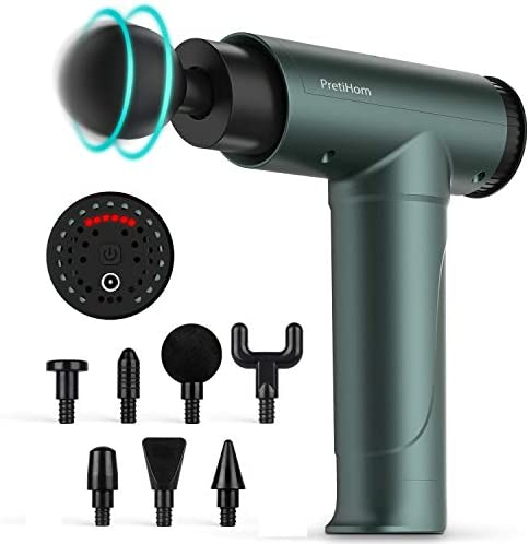 Muscle Massage Gun, PretiHom Percussion Massage for Athletes Deep Tissue Massager Impact Device Handheld Muscle Electric Gun with 6 Adjustable Speed and eight Heads Helps Relieve Soreness