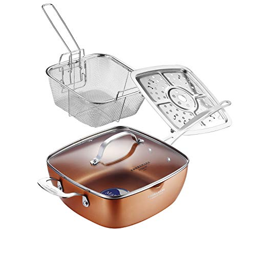 AMERICOOK 9.5 Inch Copper Nonstick Square Deep Fry Pan with Chip Frying Basket Steamer Rack and Glass Lid, Induction…