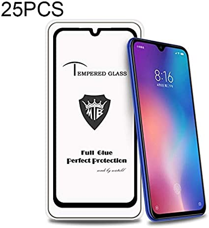 GzPuluz Glass Screen Protector 25 PCS Full Screen Full Glue Anti-Fingerprint Tempered Glass Film for Xiaomi Mi 9 SE Black Color : Black