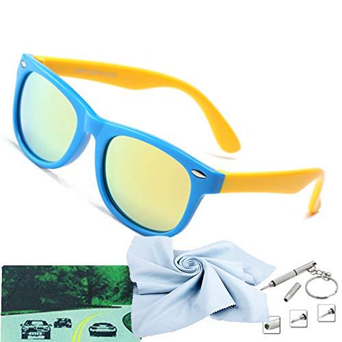 Kids Sunglasses For Kids Polarized Sunglasses Girls Children Youth Boys Age 3-10(Rubberized Blue &Yellow   Polarized Gold)