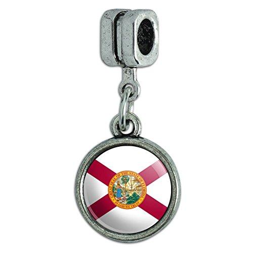 Italian European Style Bracelet Charm Bead State Flag - Florida State Flag - Florida Italian Charm