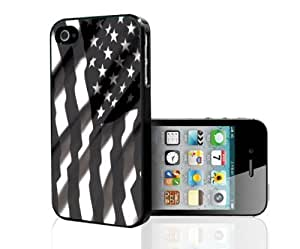 Black and White American Flag Hard Snap on Phone Case (iPhone 4/4s)