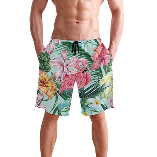 - Flamingo Floral Pattern Men's Beach Shorts Swim Trunks Stripe Quick Dry Casual Polyester Swim Shorts