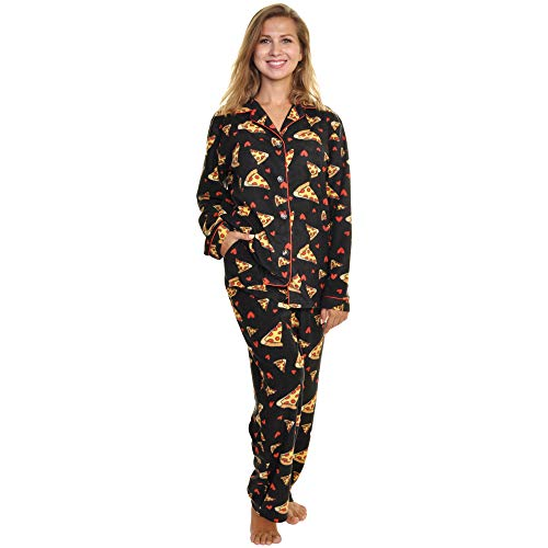 Angelina Women's Cozy Fleece Pajama Set, PJ56_Pizza_M