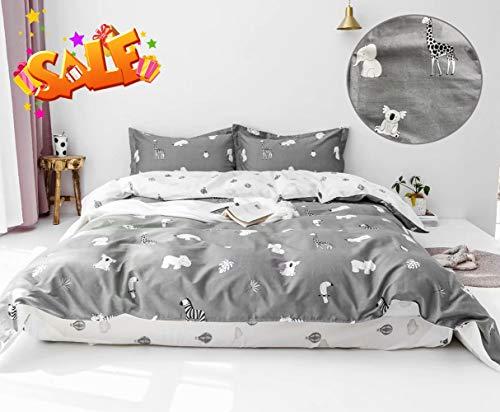 - karever Kids Duvet Cover Twin, Cartoon Animal Bedding Duvet Cover Set Cotton, Boys Girls Grey/White 3 PCs Comforter Cover Set, Koala Elephant Lion Giraffe Hot Airl Balloon Print
