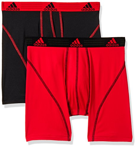 adidas Men's Sport Performance Boxer Briefs Underwear (2 Pack), Real Red/Black Black/Real Red, MEDIUM