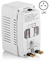Yubi Power Voltage Converter 220V to 110V (600 Watts) + Universal Adapter for AU, UK, US & EU + 2 USB Ports (2A) for Worldwide Electronic Charging. Durable, Compact & Versatile.