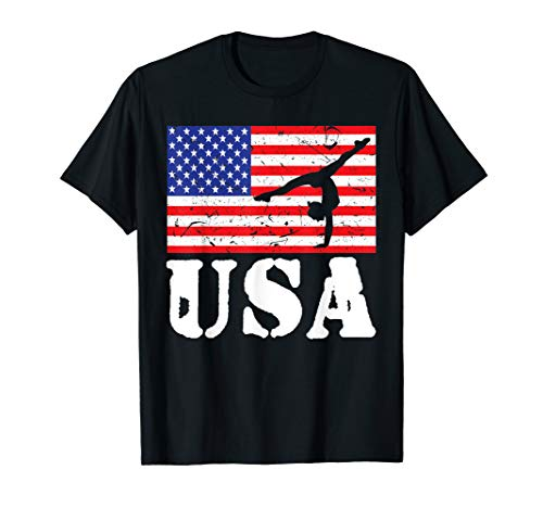 Distressed Tumbling USA American Flag Vintage Gymnastics T-Shirt (Best Gymnastic Coaches In Usa)