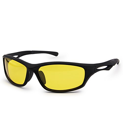 AMZTM Reducing Glare Night Driving Glasses For Men Unbreakable TR90 Frame Sports Polarized Sunglasses For Cycling Riding Running Fishing Lightweight 100% UV400 Protection (Black Frame Yellow Lens, - Sunglasses Reducing Glare