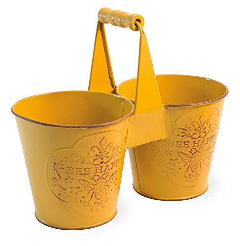 Bee Happy Yellow Duo 8.5 x 8 Inch Metal Divided Planter Tin with Handle