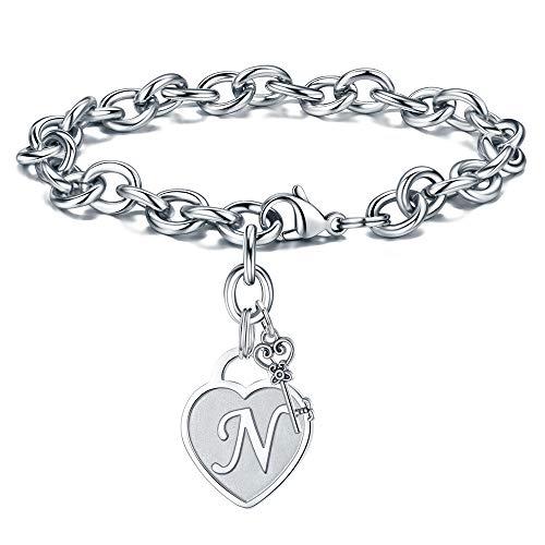 Birthday Gifts for Women Jewelry Bracelet - Engraved Letter N Initial Bracelet Stainless Steel Womens Heart Letter Charm Bracelet Mothers Day Birthday Jewelry Gift Present for Her Women Bracelet