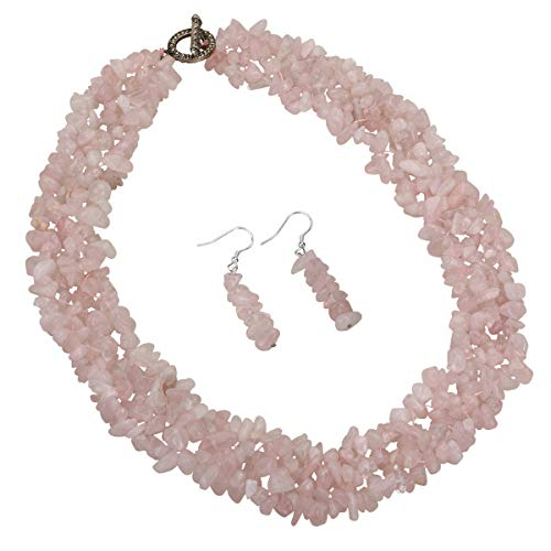 YACQ Natural Rose Quartz Gemstone 3 Layer Choker Necklace Dangle Earrings Sets Cluster Jewelry 20