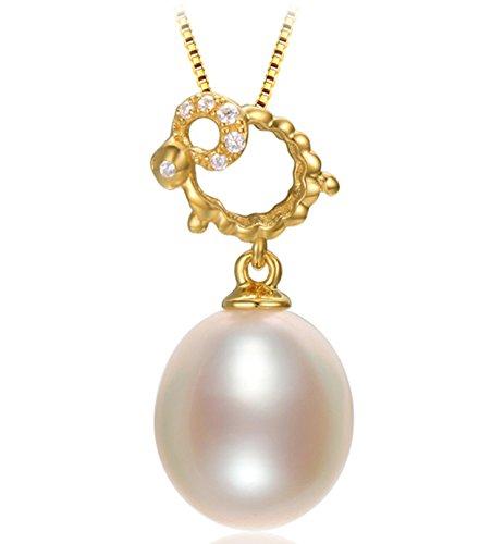 Epinki Plata de Ley 925 Collar de Mujer Collar de Perlas Oveja Forma Colgante Cadena Mujeres Joyería Nupcial Oveja con Perla...