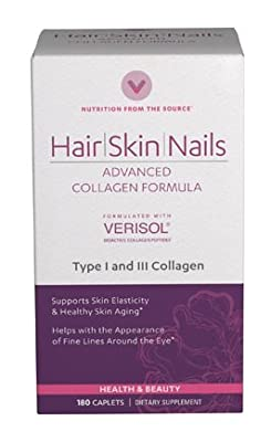 Vitamin World Hair Skin & Nails Advanced Collagen Formula With Verisol, Type I and III Collagen 180 caplets