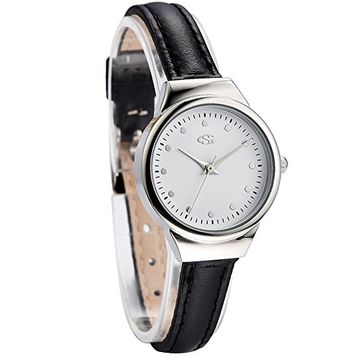 GEORGE SMITH 22 mm Lady's Small Simple Elegant Silver Tone White Dial Wristwatch with Black Slim Genuine Leather