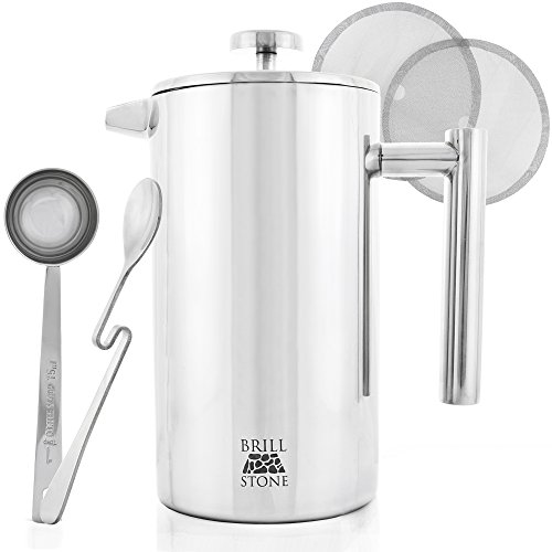 Great Deal! Professional French Press Coffee & Tea Maker Complete Bundle (1L - 8 Cups): 3 Items-Fren...