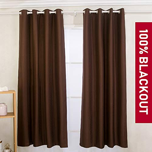 YIBU 100% Blackout Curtains Set, Thermal Insulated & Energy Efficiency Window Drapery, Lined Silky Performance (2 Panels, W52 x L84 -Inch, Brown)
