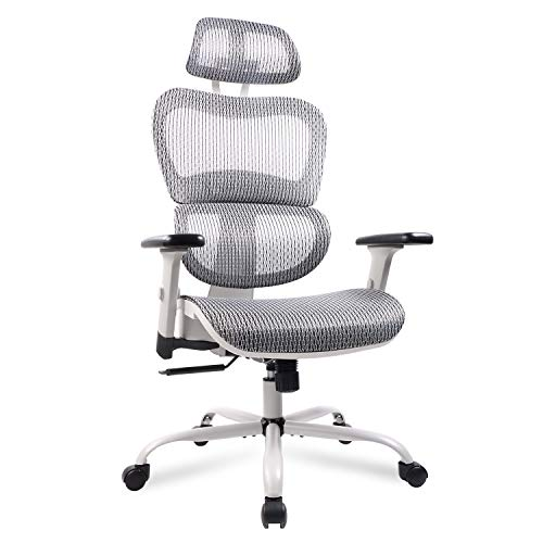 Mesh Office Chair, Ergonomic Desk Chair Technical Task Swivel Chair Executive High Back Chair Adjustable Home Chair – Gray