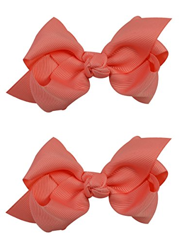 3 Inch Girls Boutique Hair Bow Set by Funny Girl Designs (Coral)