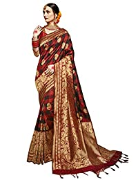 Elina fashion Sarees for Women Banarasi Art Silk Woven Saree l Indian Ethnic Wedding Gift Sari with Unstitched Blouse