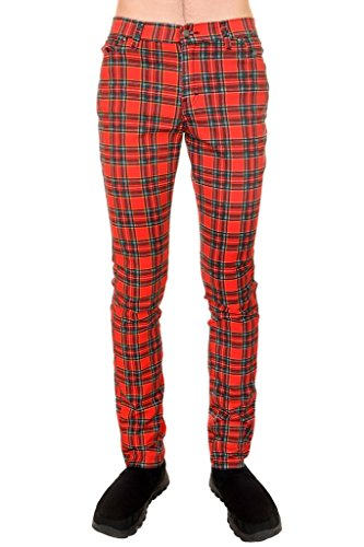 Run & Fly Mens Indie Vintage Retro 60s 80s MOD Punk Red Tartan Skinny - Indie Clothing Punk