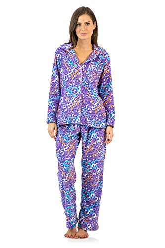Ashford & Brooks Women's Long Sleeve Minky Micro Fleece Pajama Set- Pink/Lavender- Large