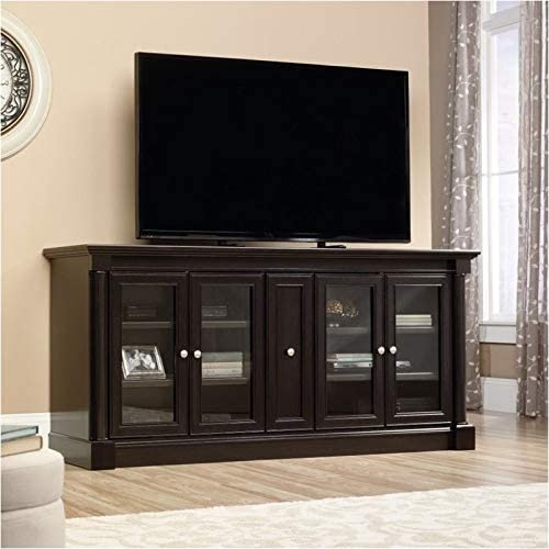 Pemberly Row Entertainment Credenza with Cord Management, for TV s up to 70 , 2 Door Options Included Glass or Wood , Wind Oak Finish