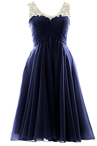 MACloth V Neck Beaded Lace Short Bridesmaid Dress Formal Evening Prom Gown (26w, Dark Navy)